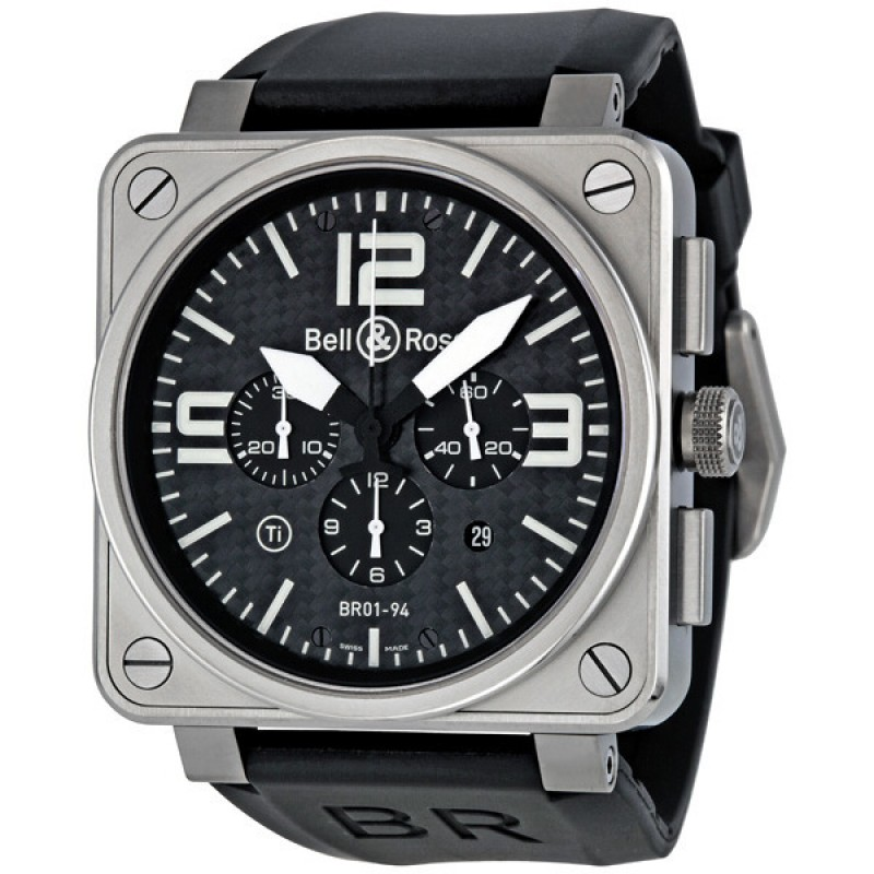 Replica Bell & Ross Aviation Black Carbon Fiber Dial Titanium Mens Watch BR0194-TITANIUM