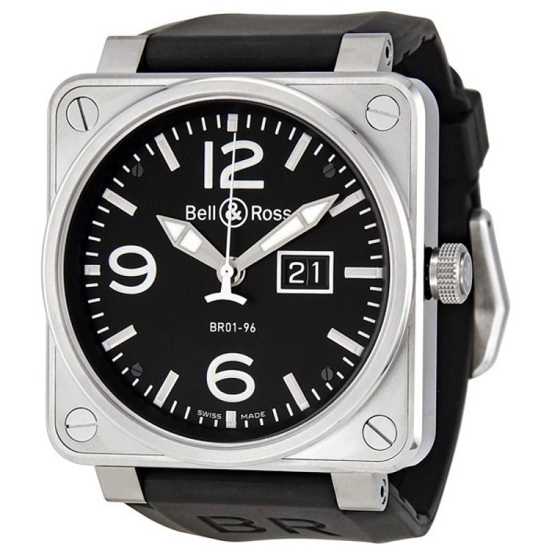 Replica Bell & Ross Grande Date Black Dial Black Rubber Mens Watch BR0196-BL-ST