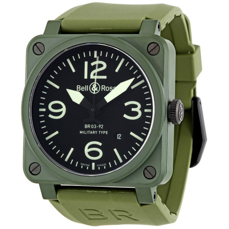 Replica Bell & Ross Military Khaki Ceramic Mens Watch BR0392-CERAM-MIL