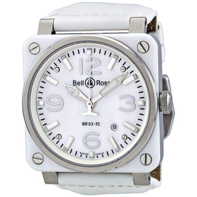 Replica Bell & Ross Aviation Mother of Pearl White Ceramic Mens Watch BR0392-WHT-CER
