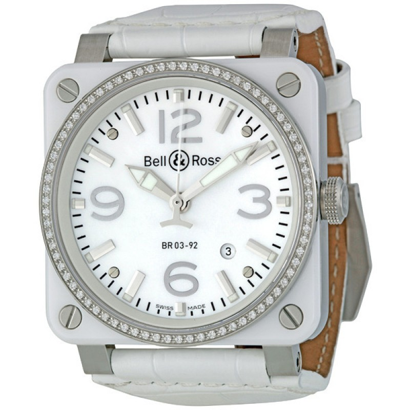 Replica Bell & Ross White Ceramic Diamond Mother of Pearl Mens Watch BR0392-WH-C-D-SCA