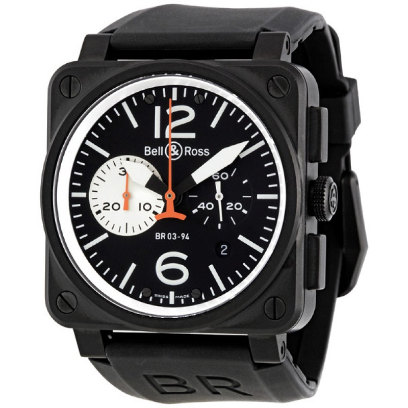 Replica Bell & Ross Aviation Chronograph Automatic Mens Watch BR0394-BW-CA