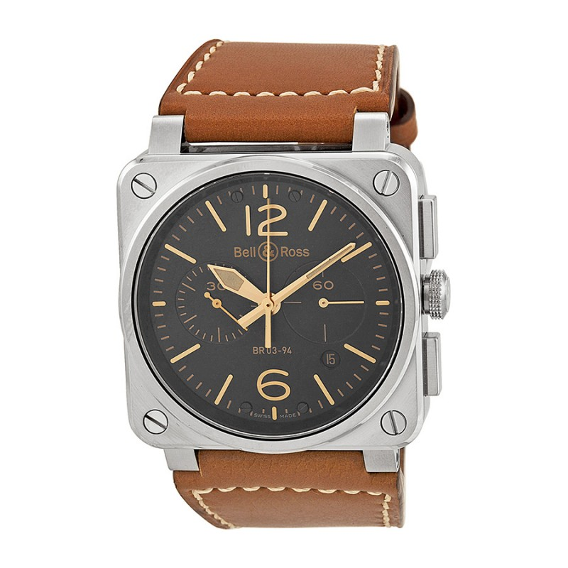 Replica Bell & Ross Aviation Golden Heritage Chronograph Automatic Mens Watch BR0394-GOLD-HER