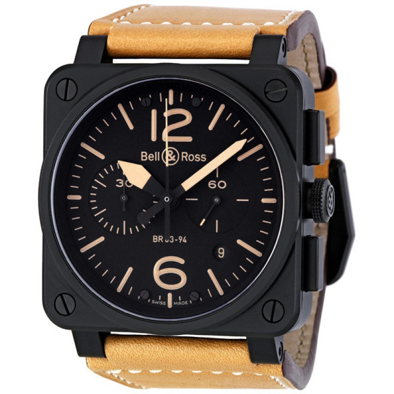Replica Bell & Ross Instrument Heritage Black Dial Chronograph Automatic 42MM Mens Watch BR-03-94-HERITAGE