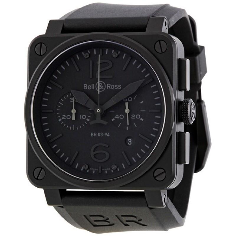 Replica Bell & Ross Aviation Phantom All Black Dial Chronograph Mens Watch BR03-94-PHANTOM