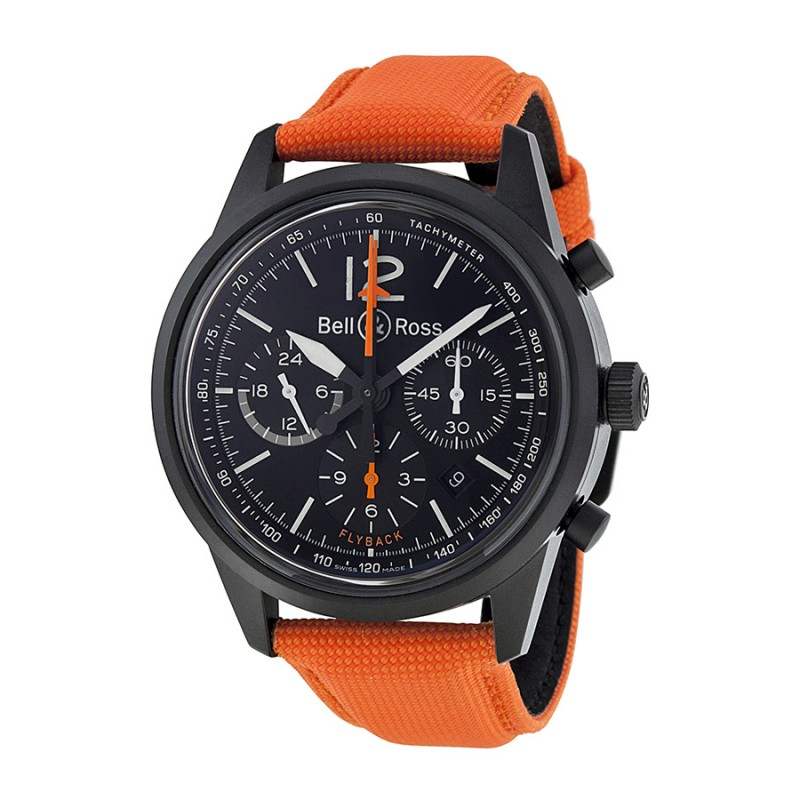 Replica Bell & Ross Vintage Blackbird Chronograph Orange Canvas Mens Watch BR126-BLKBIRD