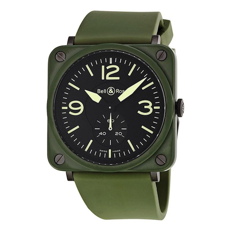 Replica Bell & Ross Military Olive Green Ceramic Mens Watch BRS-CERAM-MIL