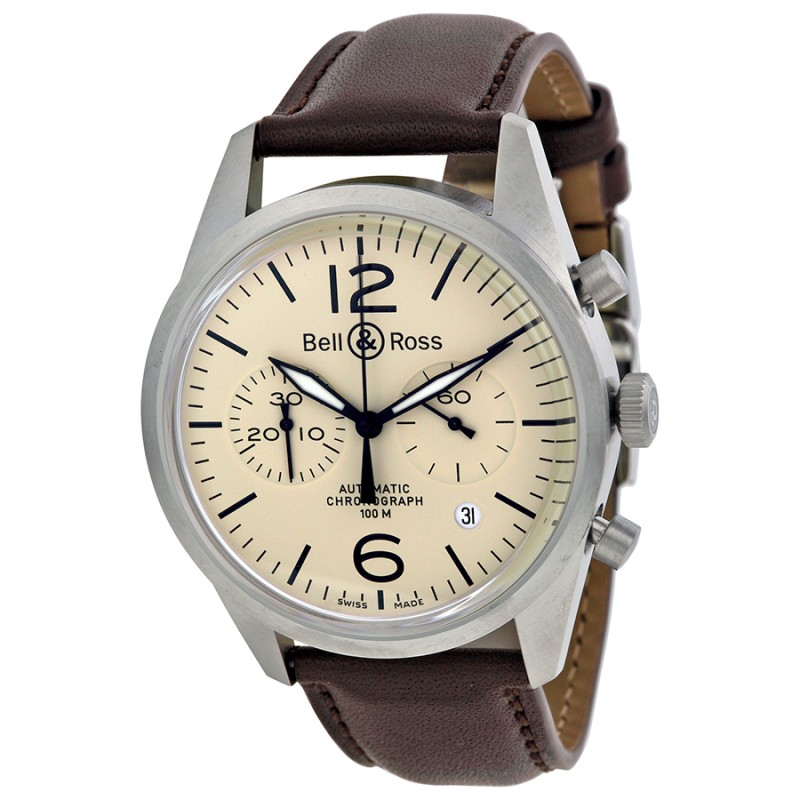 Replica Bell & Ross Chronograph Beige Dial Mens Watch RBRV126-BEI-ST-SCA