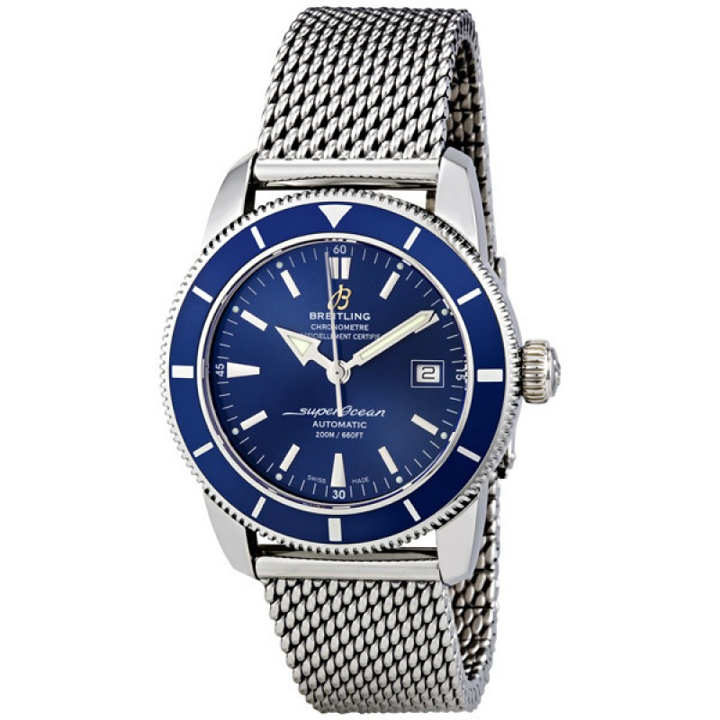 Fake Breitling Superocean 42 Blue Dial Mens Watch A1732116-C832SS