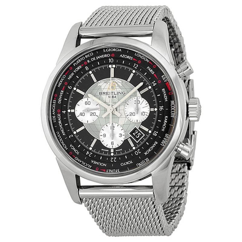 Fake Breitling Transocean Chronograph Unitime Mesh Mens Watch AB0510U4/BB62SS