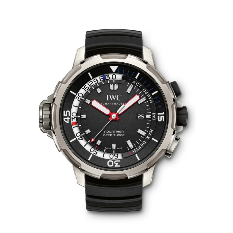 Fake IWC Aquatimer Deep Three Black Dial Mens Watch IW355701