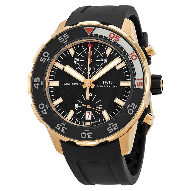Fake IWC Aquatimer Black Dial 18kt Rose Gold Mens Watch IW376905