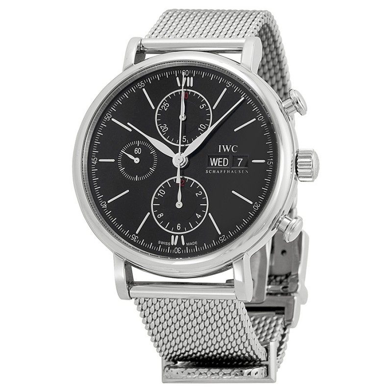 Fake IWC Portfonio Chronograph Automatic Black Dial Steel Mens Watch IW391010
