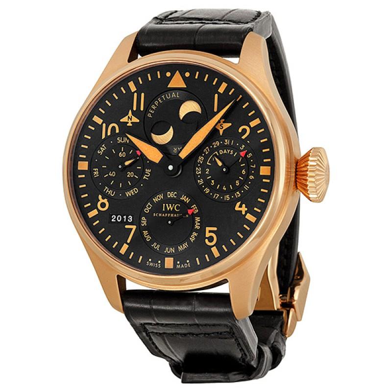 Fake IWC Big Pilot's Perpetual Bucherer Black Dial Mens Watch IW502635