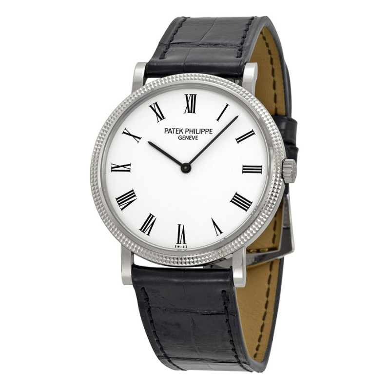 Replica Patek Philippe Calatrava White Dial 18 kt White Gold Mens Watch 5120G