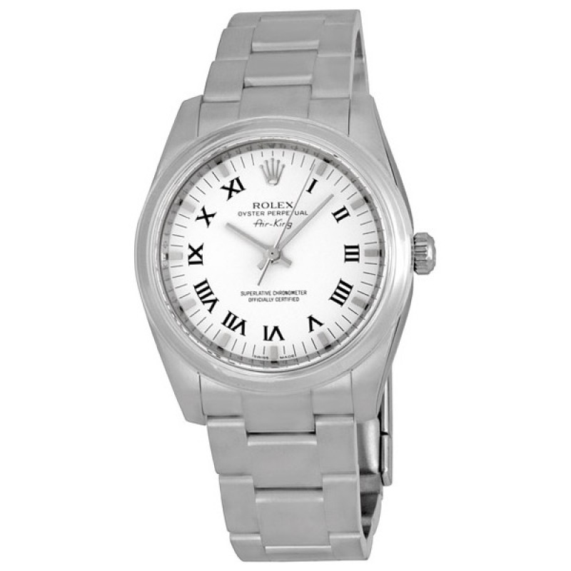 Fake Rolex Air king White Roman Numeral Dial Mens watch 114200WRO