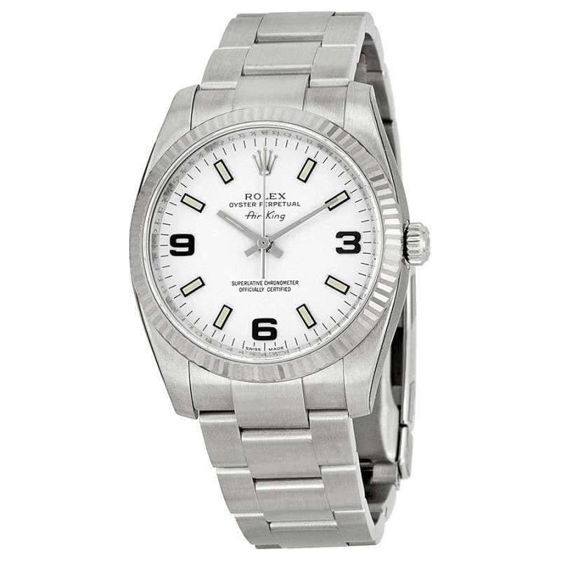 Fake Rolex Air king White Arabic and Stick Dial Mens Watch 114234WASO