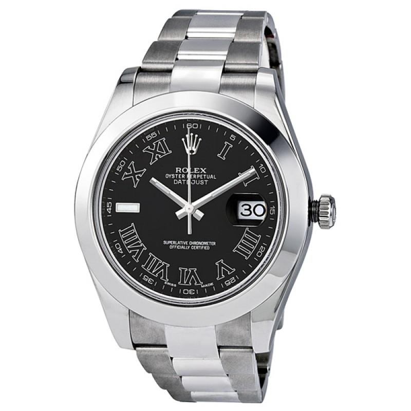 Fake Rolex Datejust II Black Dial Oyster Mens Watch 116300BKRO
