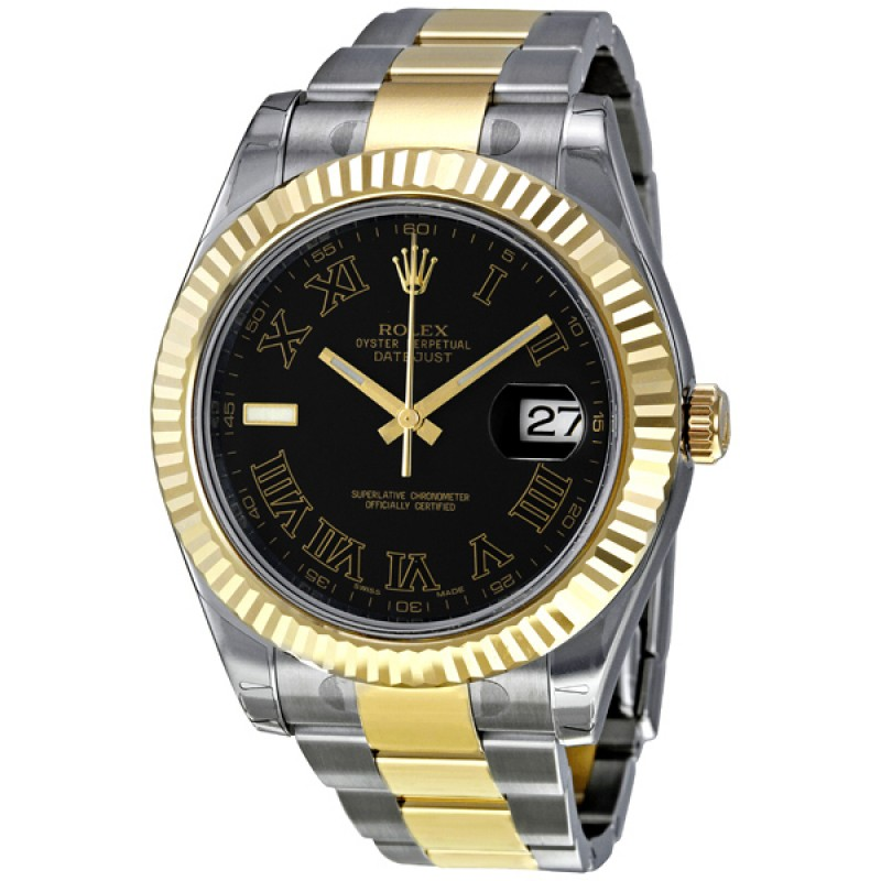 Fake Rolex Datejust II Black Roman Dial Mens Watch 116333BKRO