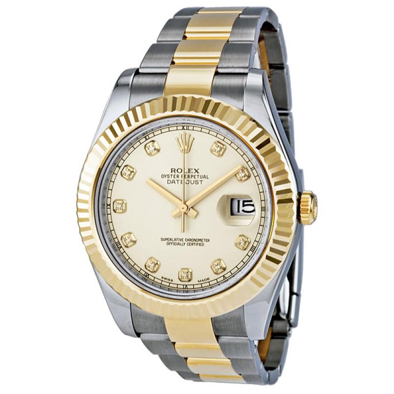 Fake Rolex Datejust II Ivory Diamond Dial Mens Watch 116333IDO