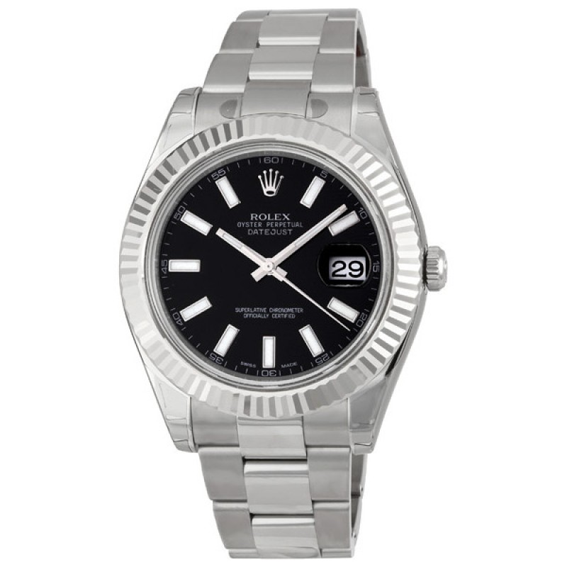 Fake Rolex Datejust II Black Index Dial Mens Watch 116334BKSO