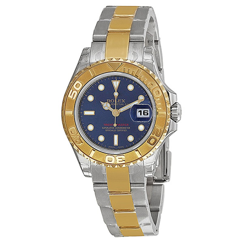 Fake Rolex Yachtmaster Blue Index Dial Ladies Watch 169623BLSO