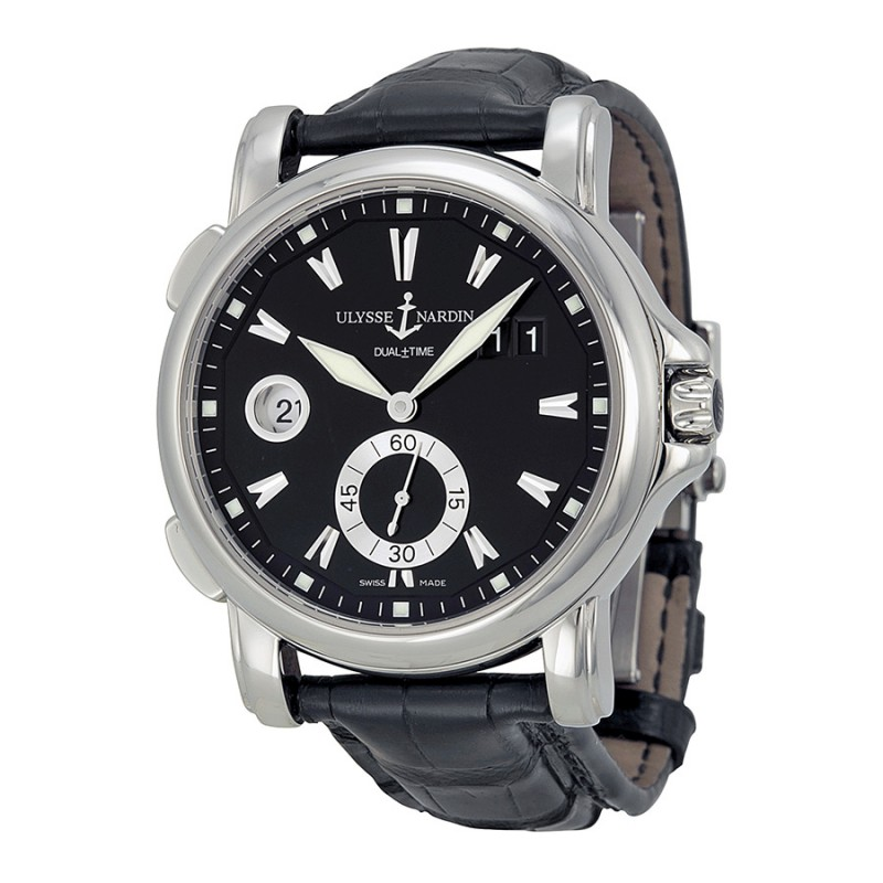 Fake Ulysse Nardin GMT Big Date Black Dial Stainless Steel Mens Watch 243-55-92