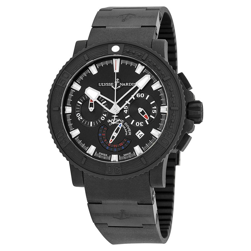 Fake Ulysse Nardin Maxi Marine Black Sea Chronograph Mens Watch 353-92-3C