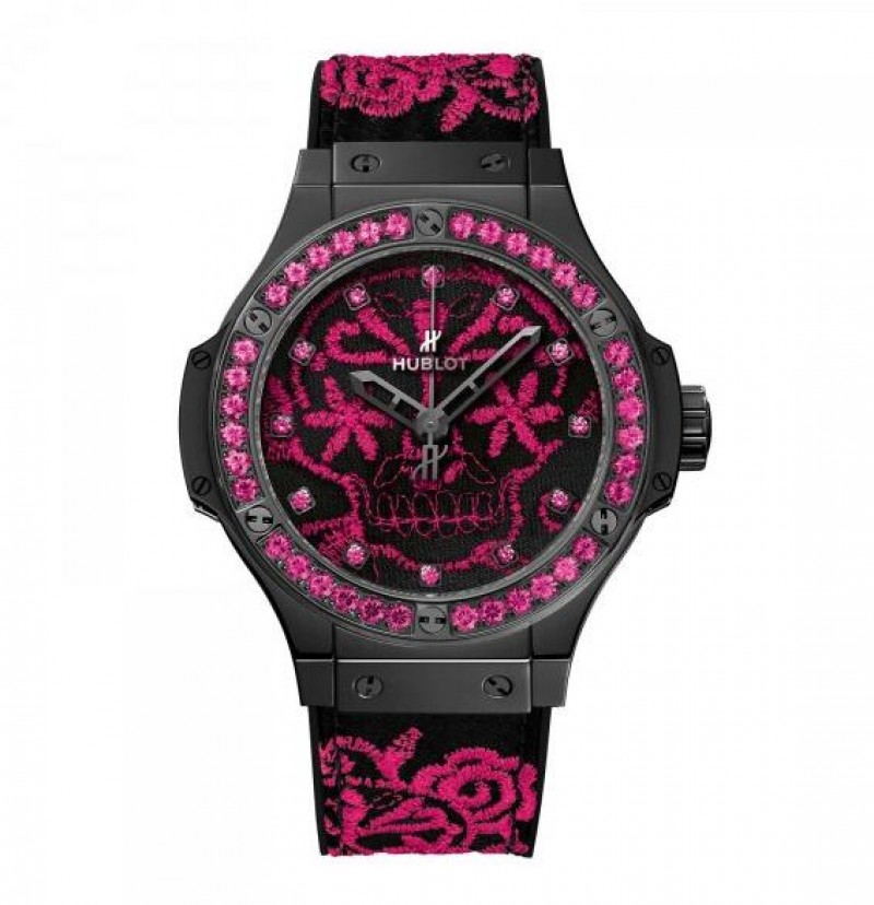 Fake Hublot Big Bang Broderie Sugar Skull Fluo Hot Pink 41mm Watch 343.CP.6590.NR.1233