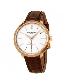 Replica Patek Philippe Calatrava Silver Dial 18k Rose Gold Brown Leather Mens Watch 5123R-001