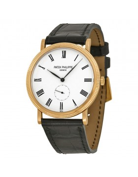 Replica Patek Philippe Calatrava White Dial 18kt Rose Gold Mens Watch 5119R