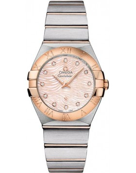 Fake Omega Constellation Quartz 27mm Pink Diamond Pearl Watch 123.20.27.60.57.004