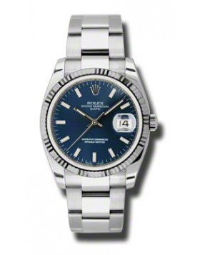 Fake Rolex Date Blue Stick Dial Mens Watch 115234BLSO