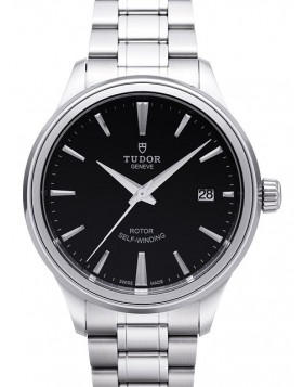 Fake Tudor Style 38mm Black Dial Steel Strap Mens Watch