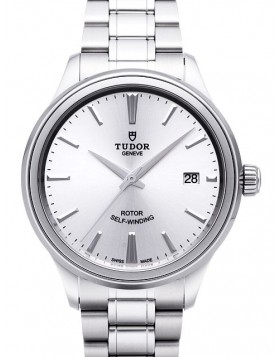 Fake Tudor Style 38mm Silver Dial Steel Strap Mens Watch