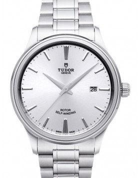 Fake Tudor Style 41mm Silver Dial Steel Strap Mens Watch