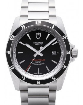 Fake Tudor Grantour Date Black Dial Steel Strap Mens Watch
