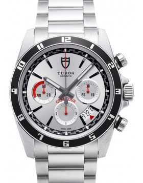 Fake Tudor Grantour Chrono Silver Dial Steel Strap Mens Watch