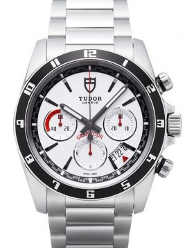 Fake Tudor Grantour Chrono White Dial Steel Strap Mens Watch