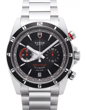 Fake Tudor Grantour Chrono Fly Back Black Dial Steel Strap Mens Watch