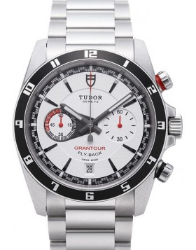 Fake Tudor Grantour Chrono Fly Back White Dial Steel Strap Mens Watch