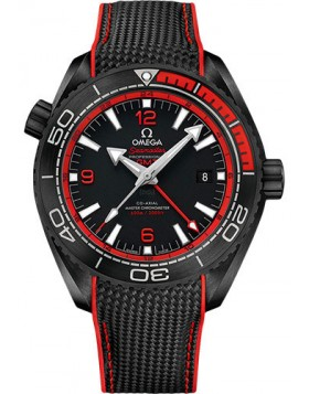 Fake Omega Seamaster Planet Ocean 600M Master Chronometer GMT Deep Black Red 215.92.46.22.01.003