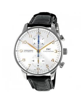 Fake IWC Portuguese Silver Dial Chronograph Mens Watch 3714-45
