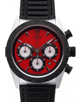 Fake Tudor Fastrider Chronograph Red Dial Calfskin Strap Mens Watch