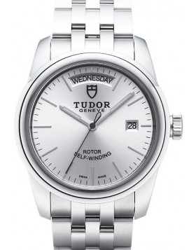 Fake Tudor Glamour Date Day 39mm Silver Dial Steel Strap Folding Clasp Mens Watch