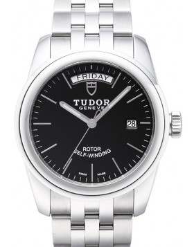 Fake Tudor Glamour Date Day 39mm Black Dial Steel Strap Mens Watch