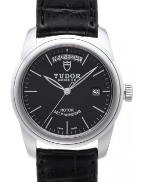 Fake Tudor Glamour Date Day 39mm Black Dial Folding Clasp Mens Watch