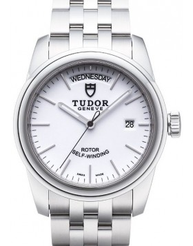 Fake Tudor Glamour Date Day 39mm White Dial Steel Strap Mens Watch