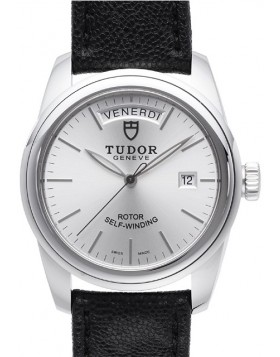 Fake Tudor Glamour Date Day 39mm Silver Dial Leather Strap Mens Watch