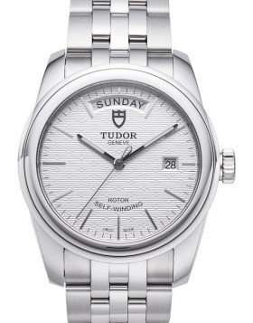 Fake Tudor Glamour Date Day 39mm Silver Dial Steel Strap Mens Watch